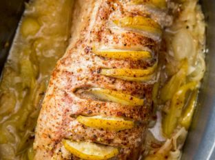 Slow Cooker Honey Apple Pork Loin with just seven ingredients is a showstopping meal with none of the effort! Perfect for holiday dinners!