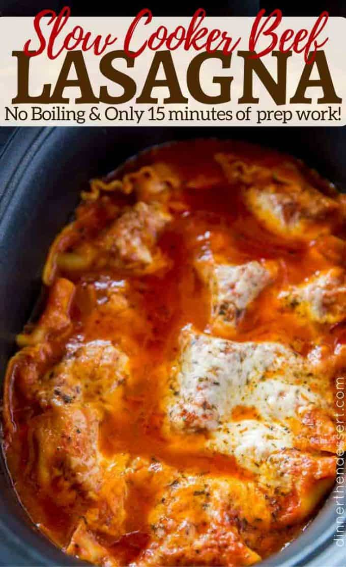 Crock Pot Lasagna in just 20 minutes of prep time with three cheeses and perfect marinara sauce.