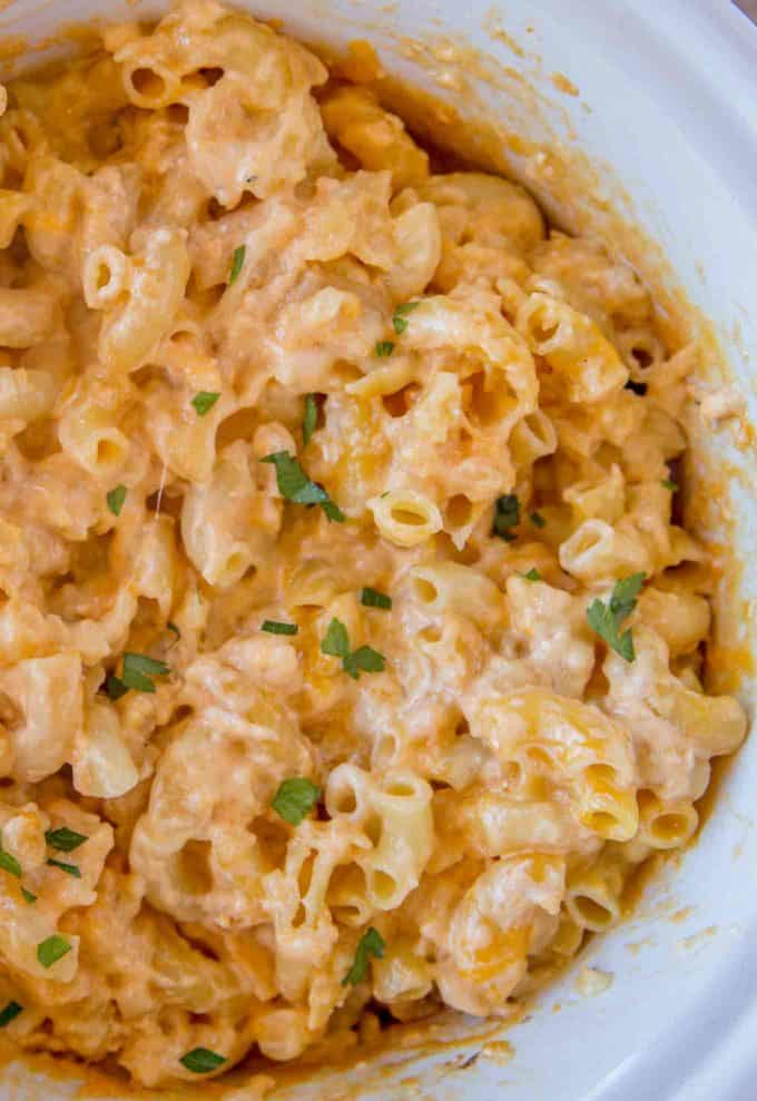 Ready to cook in five minutes! Perfectly cheesy Slow Cooker Macaroni and Cheese!