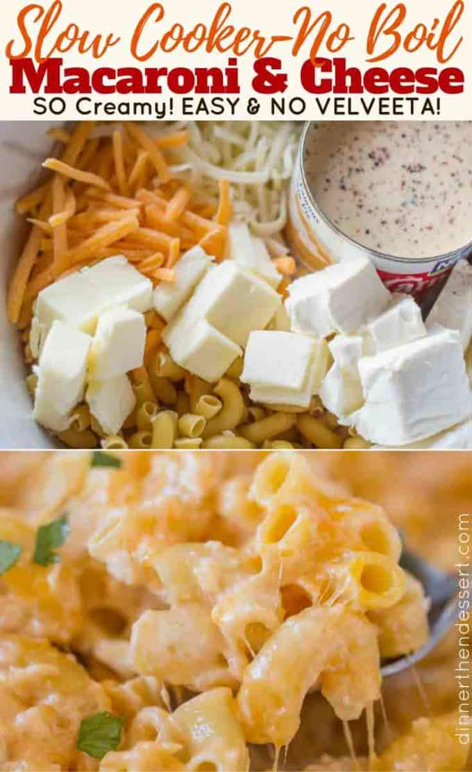 Slow Cooker Mac and Cheese is super creamy and cheesy with no boiling or pre-made noodles and no velveeta or condensed soups! #cheese #macandcheese #slowcooker #recipe