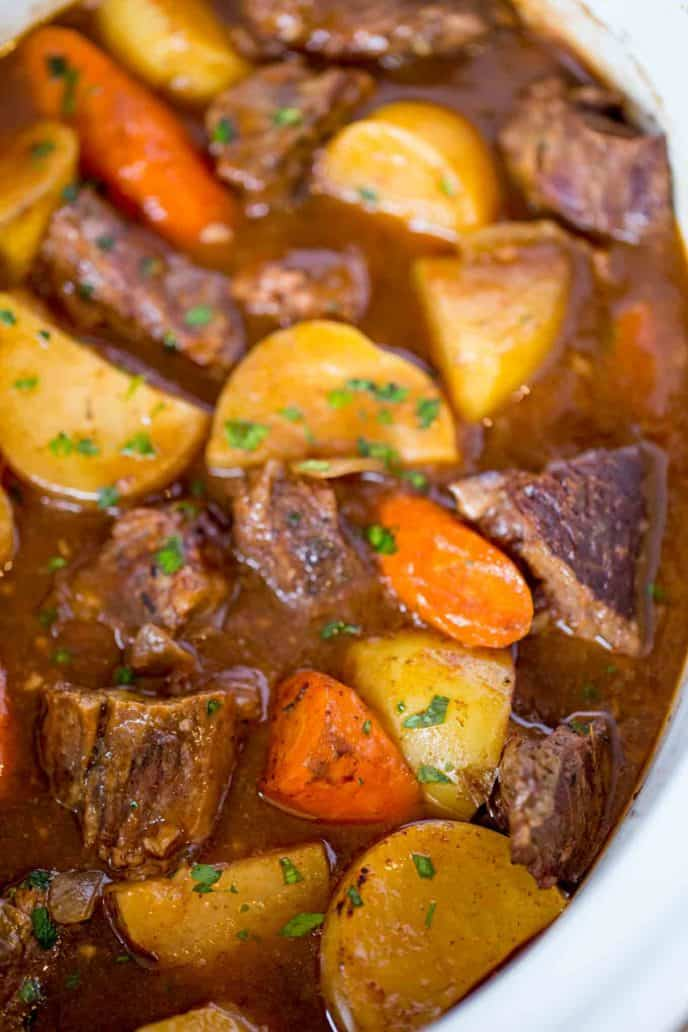 Slow Cooker Beef Stew in White Slow cooker insert