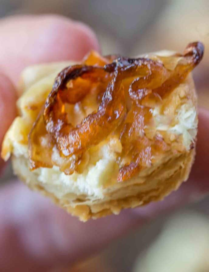The perfect caramelized onion and feta pastry bites. The perfect Trader Joes Copycat.