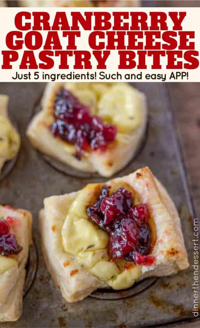 Ready to bake in just five minutes, these Cranberry Goat Cheese Puff Pastry Bites are DELICIOUS!