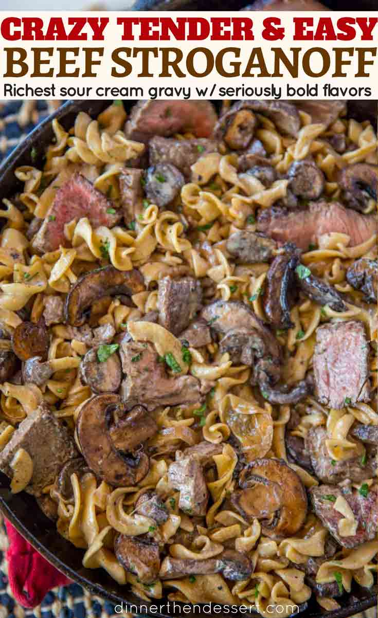 Ribeye Steak Beef Stroganoff in pan