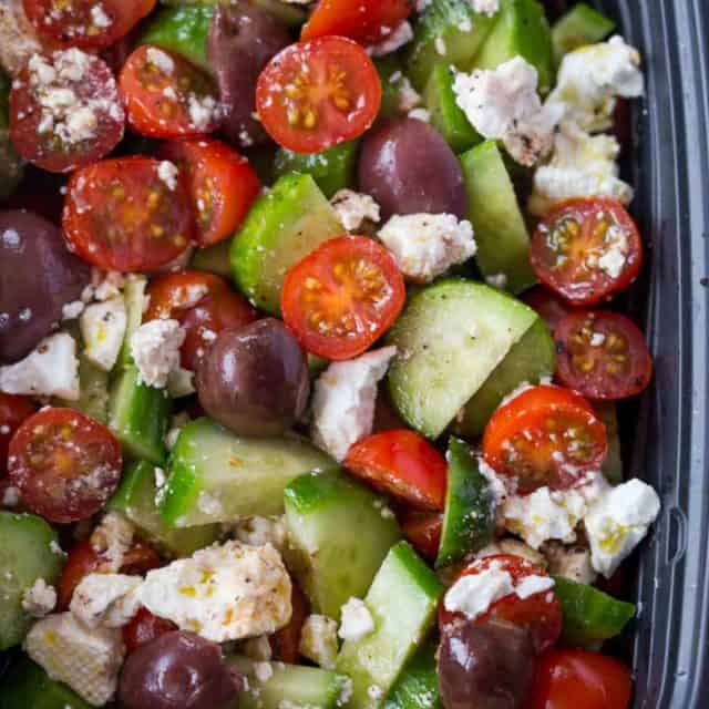 The most delicious, easy to make Greek Salad with Red Wine Vinaigrette.