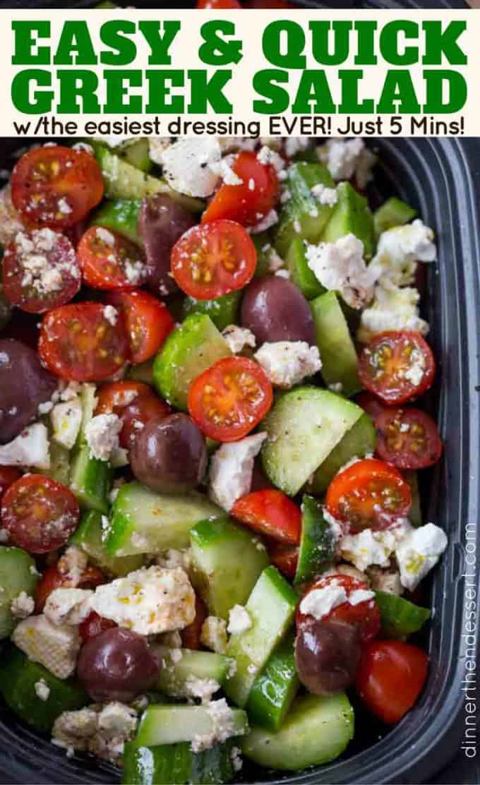 An easy and quick Greek Salad with Persian Cucumbers, grape tomatoes, feta, olives and a homemade Greek Dressing. Whole recipe done in ten minutes!