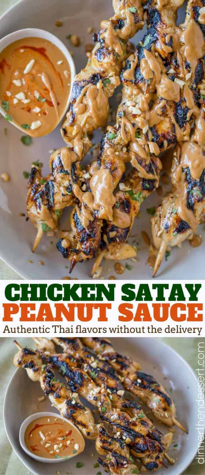 Chicken Satay skewers with the easiest peanut sauce is both authentic and approachable for kids too! So delicious you'll skip the Thai food delivery!