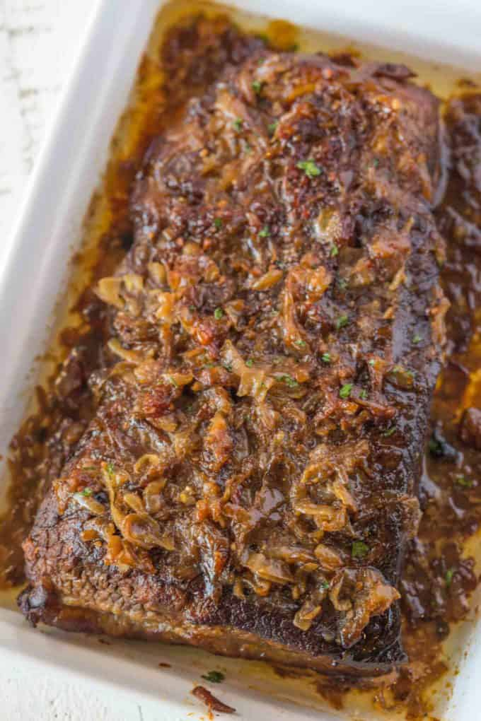 This is the easiest, Ultimate Brisket topped with Caramelized Onions you'll ever make and it is simple enough for a regular family meal but flavorful enough for a holiday meal!