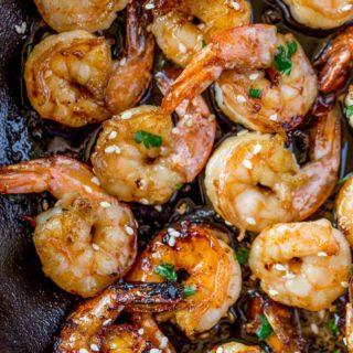 Honey Shrimp in skillet