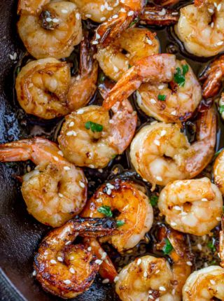 Honey Shrimp in skillet