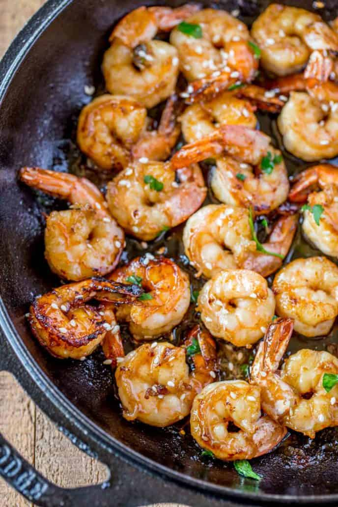 Easy Honey Garlic Shrimp in pot