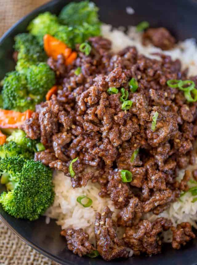 Ground Mongolian Beef in bowl with broccoli and carrots