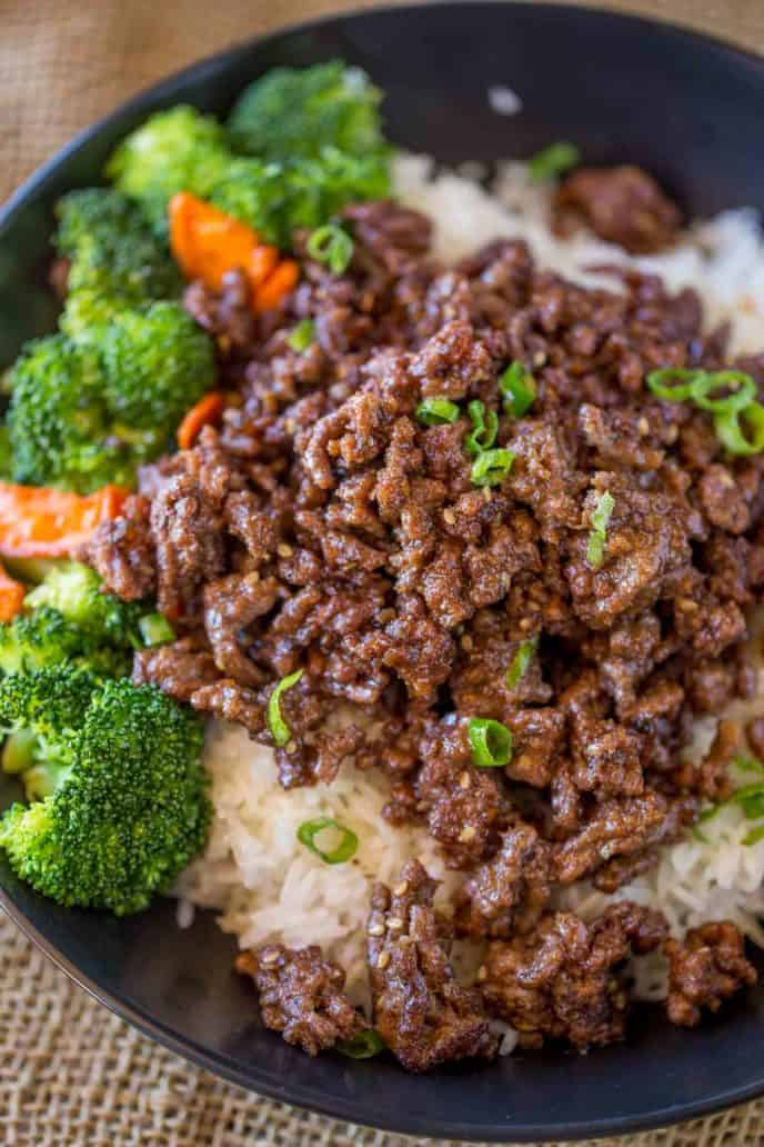 ground beef, rice, broccoli and carrots with mongolian beef sauce.