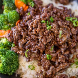 Ground Mongolian Beef with Rice, Broccoli and Carrots in blue bowl