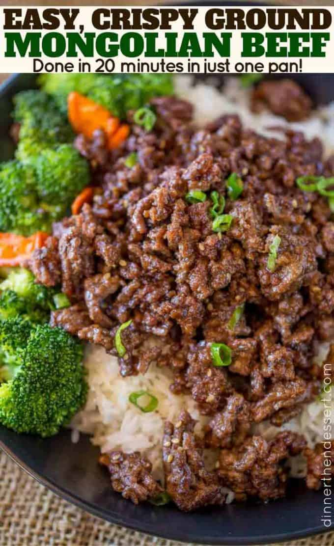 ground beef with broccoli and carrots over rice
