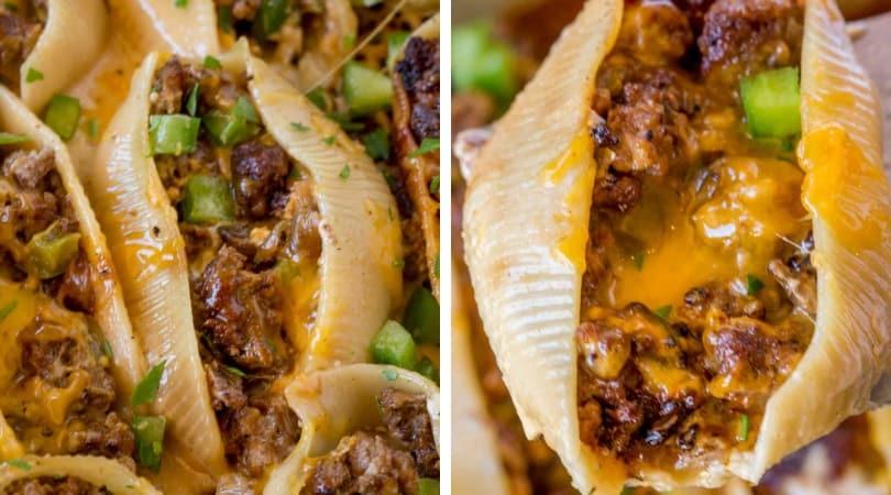Philly Cheesesteak Stuffed Shells - Dinner, then Dessert