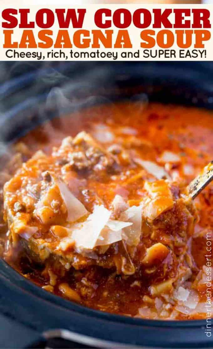 The easiest slow cooker lasagna soup with ground beef, cheese and lasagna noodles