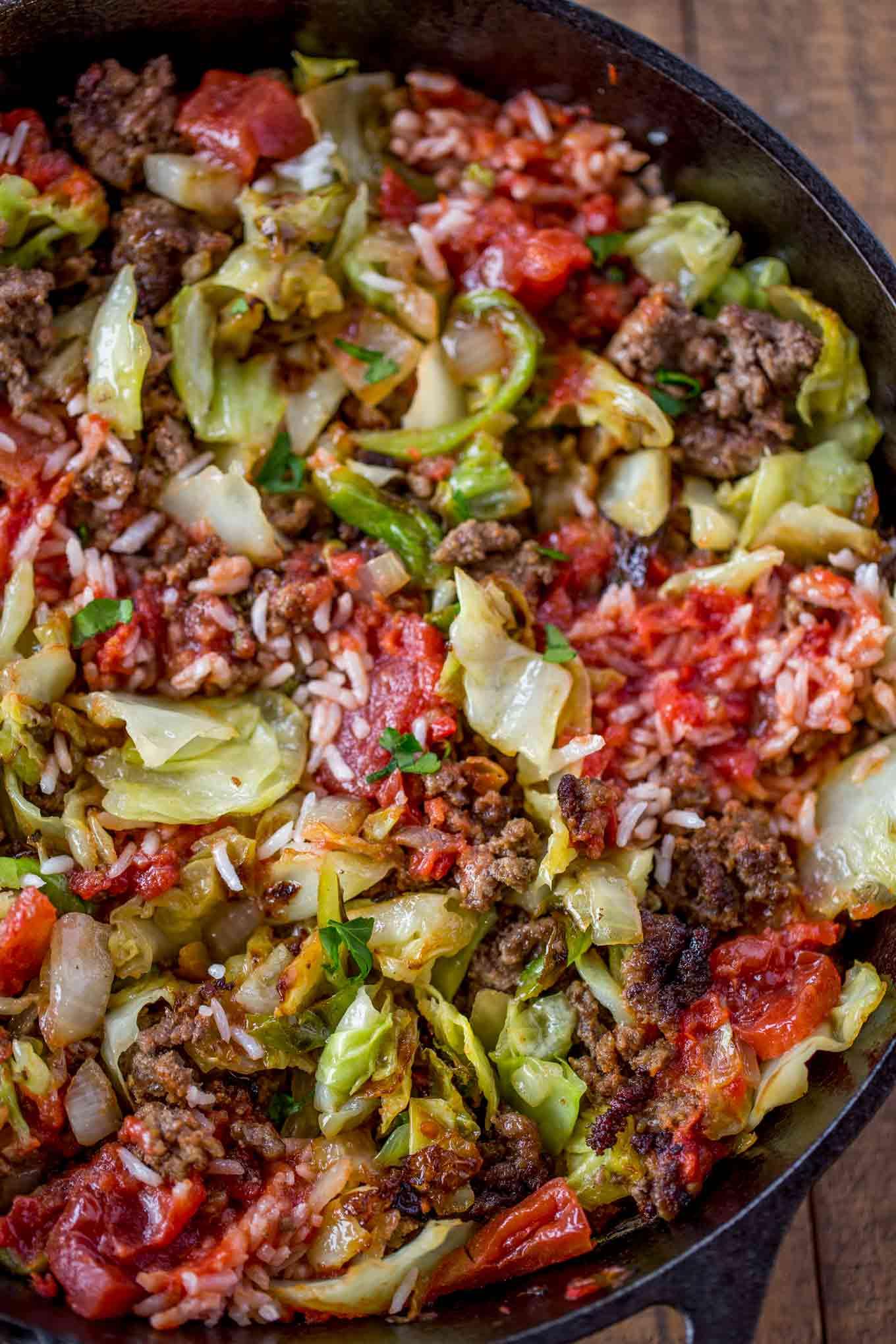 Skillet of stuffed cabbage casserole