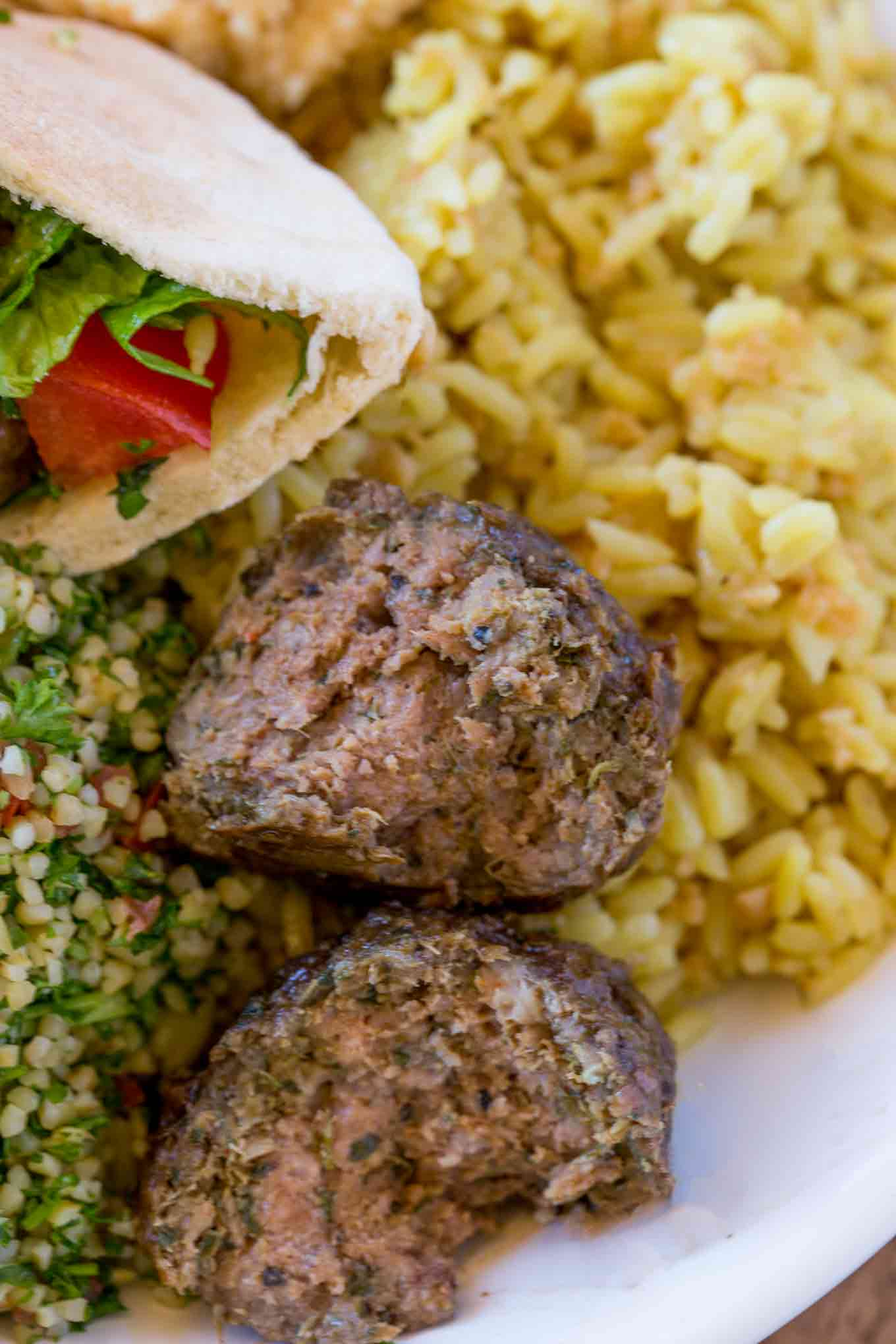 Beef kofte kebabs with rice
