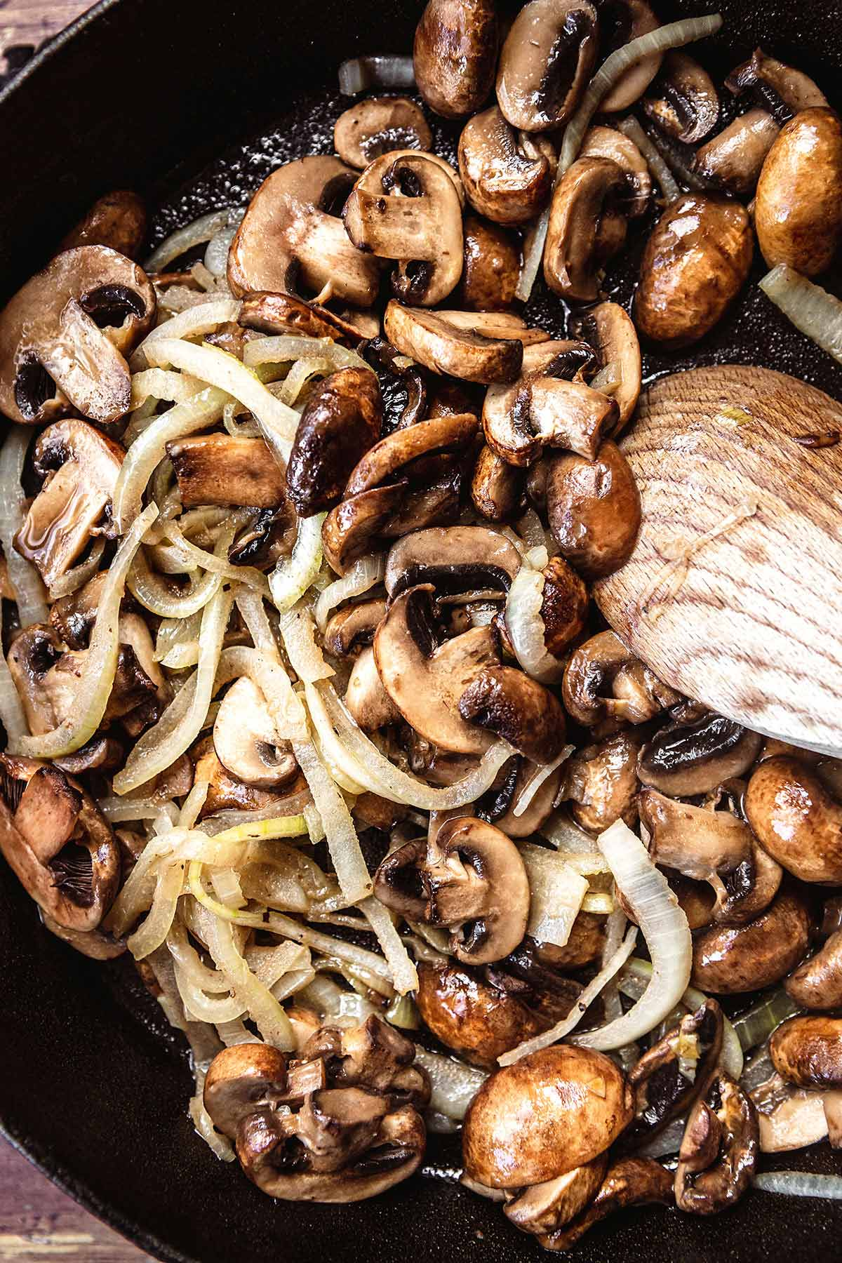 Beef Stroganoff onions and mushrooms in skillet