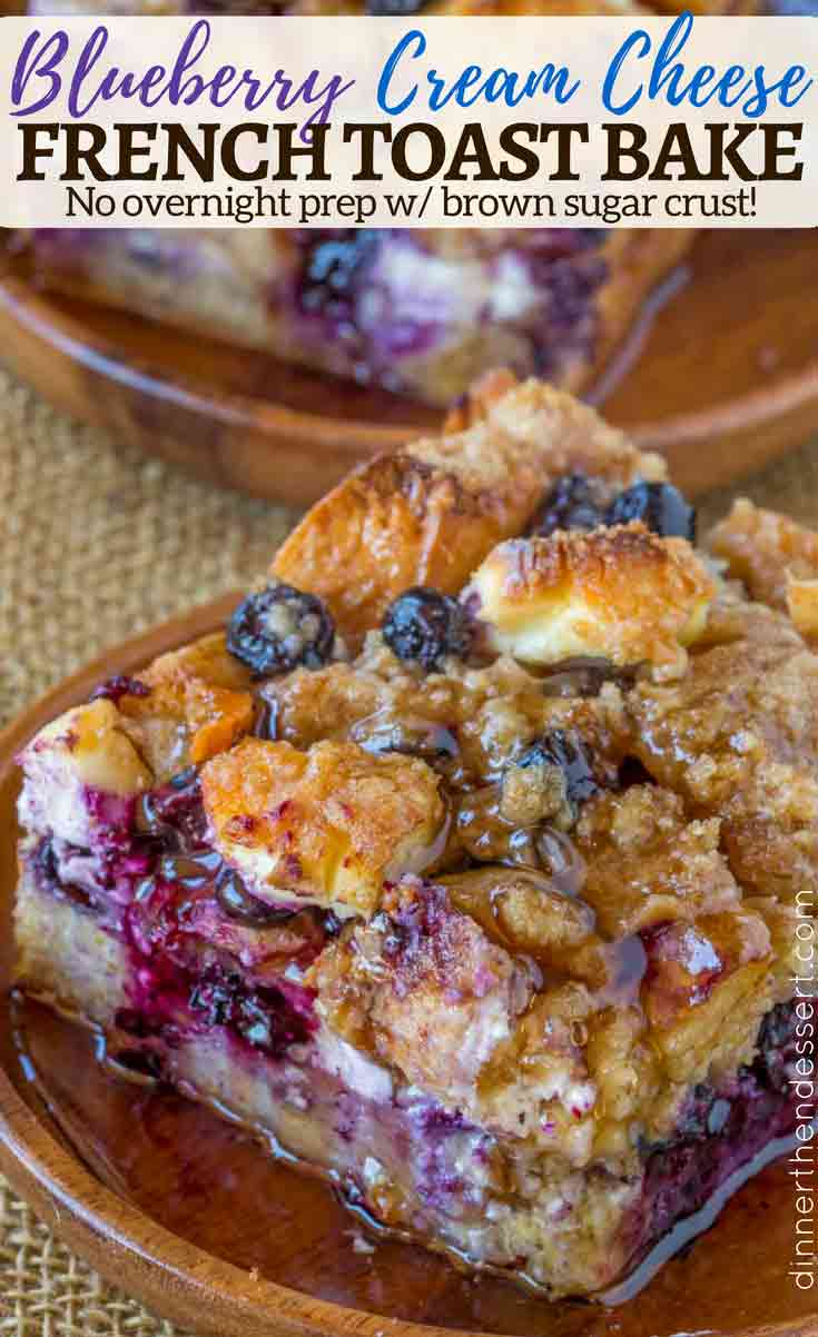 French toast casserole with blueberries on plate