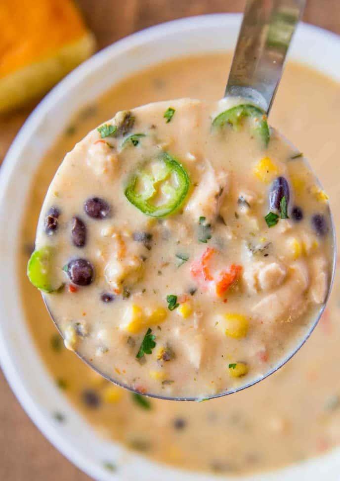 Ladle of Creamy Chicken Poblano Pepper Soup