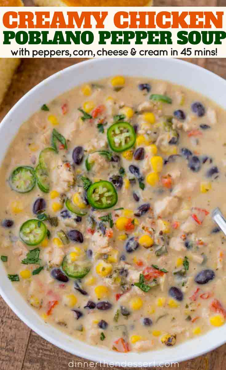 Creamy Chicken Poblano Pepper Soup - Dinner, then Dessert