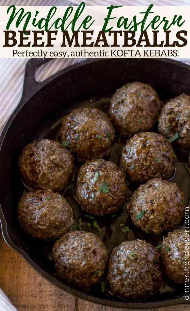 kofta kebab meatballs in skillet