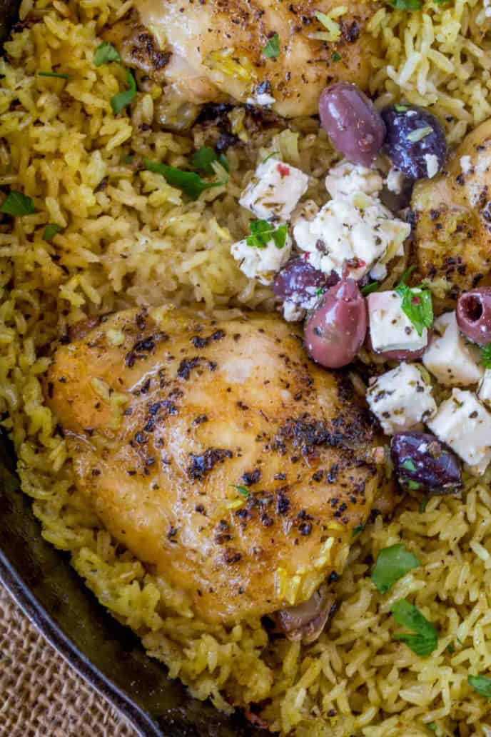 Chicken rice, olives and feta