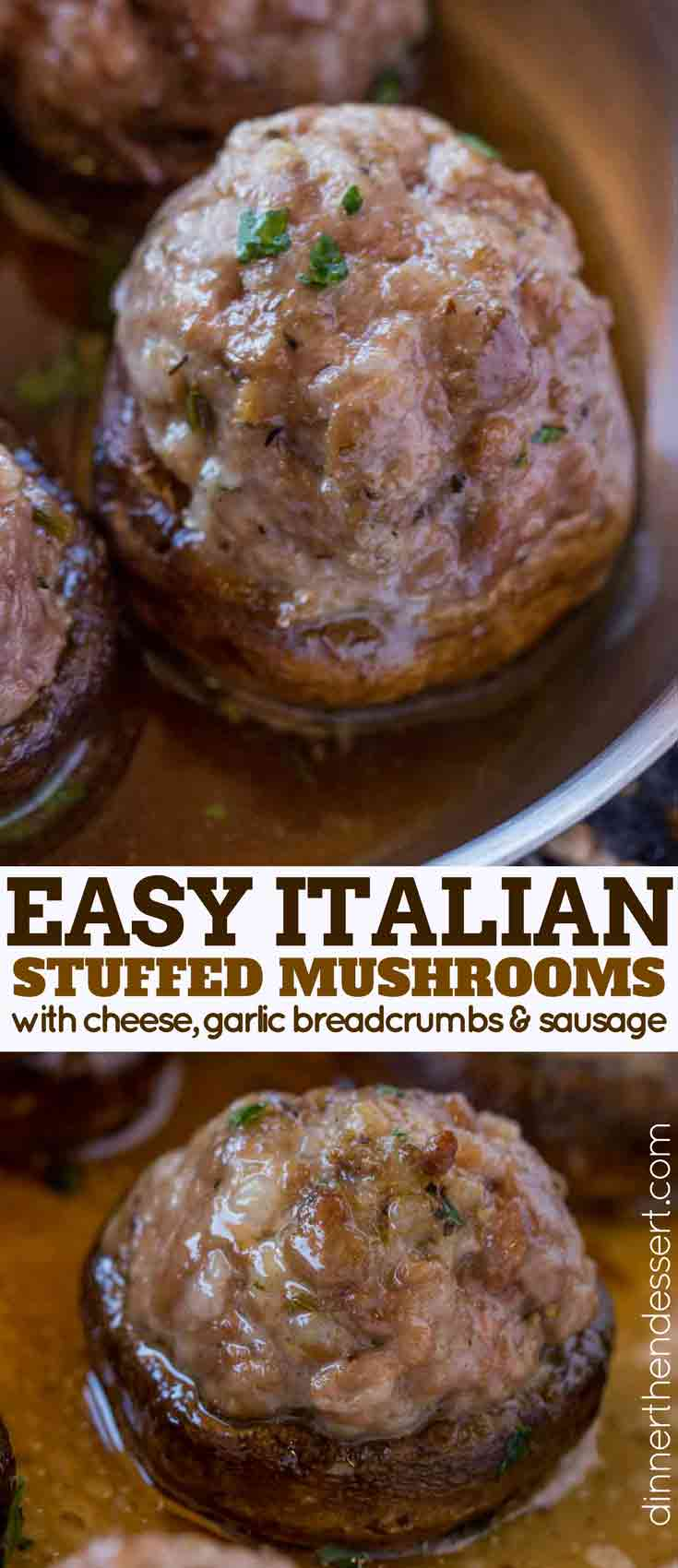 Stuffed Mushrooms with cheese collage