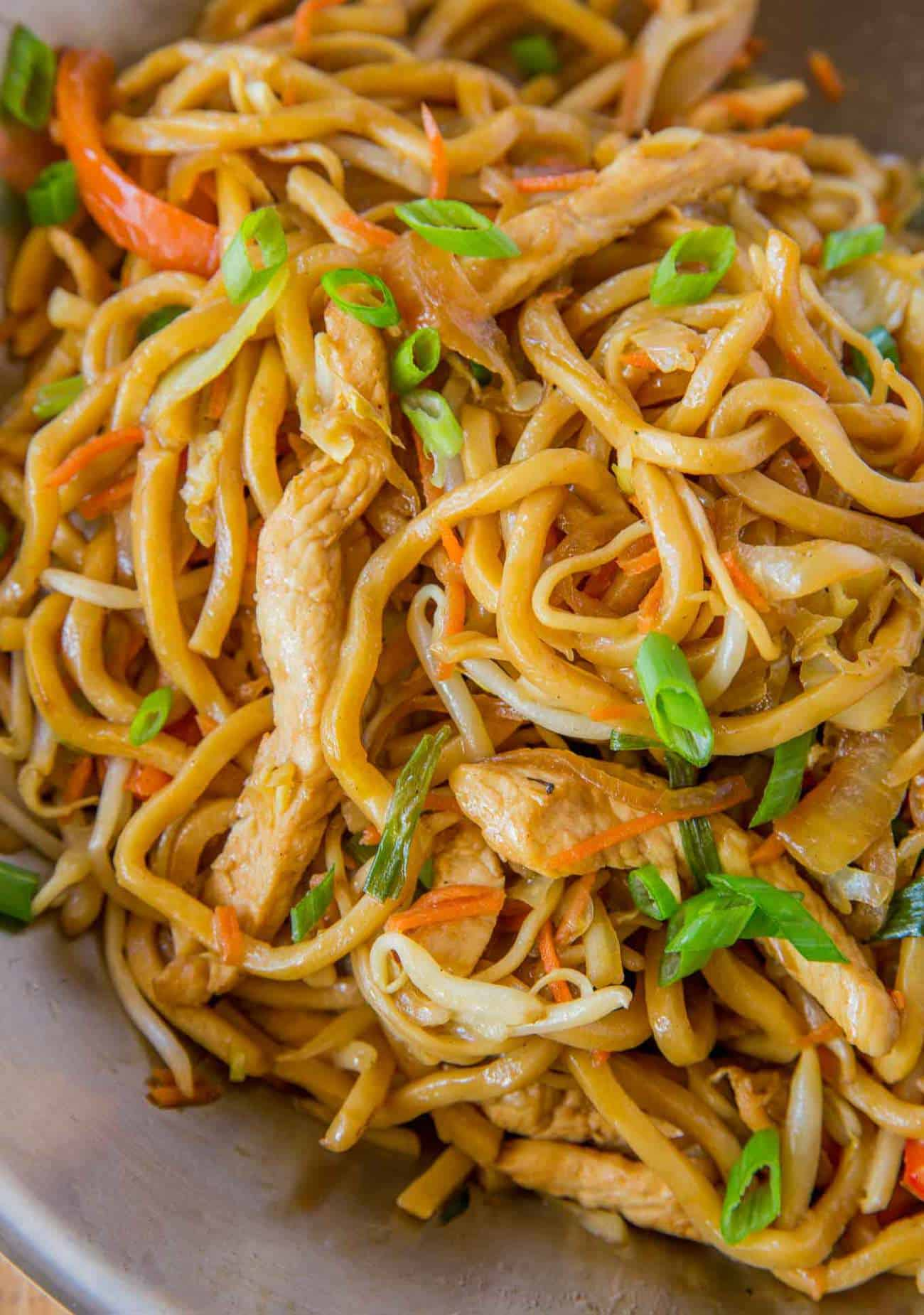 Chicken Lo Mein in skillet