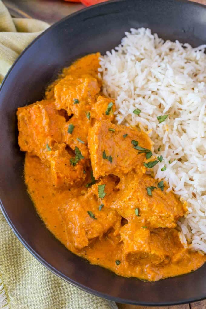 Chicken Tikka Masala in blue bowl