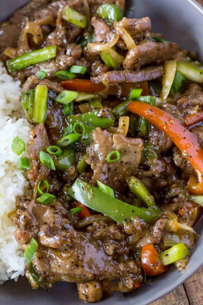 Chinese Takeout Black Pepper Steak and Rice