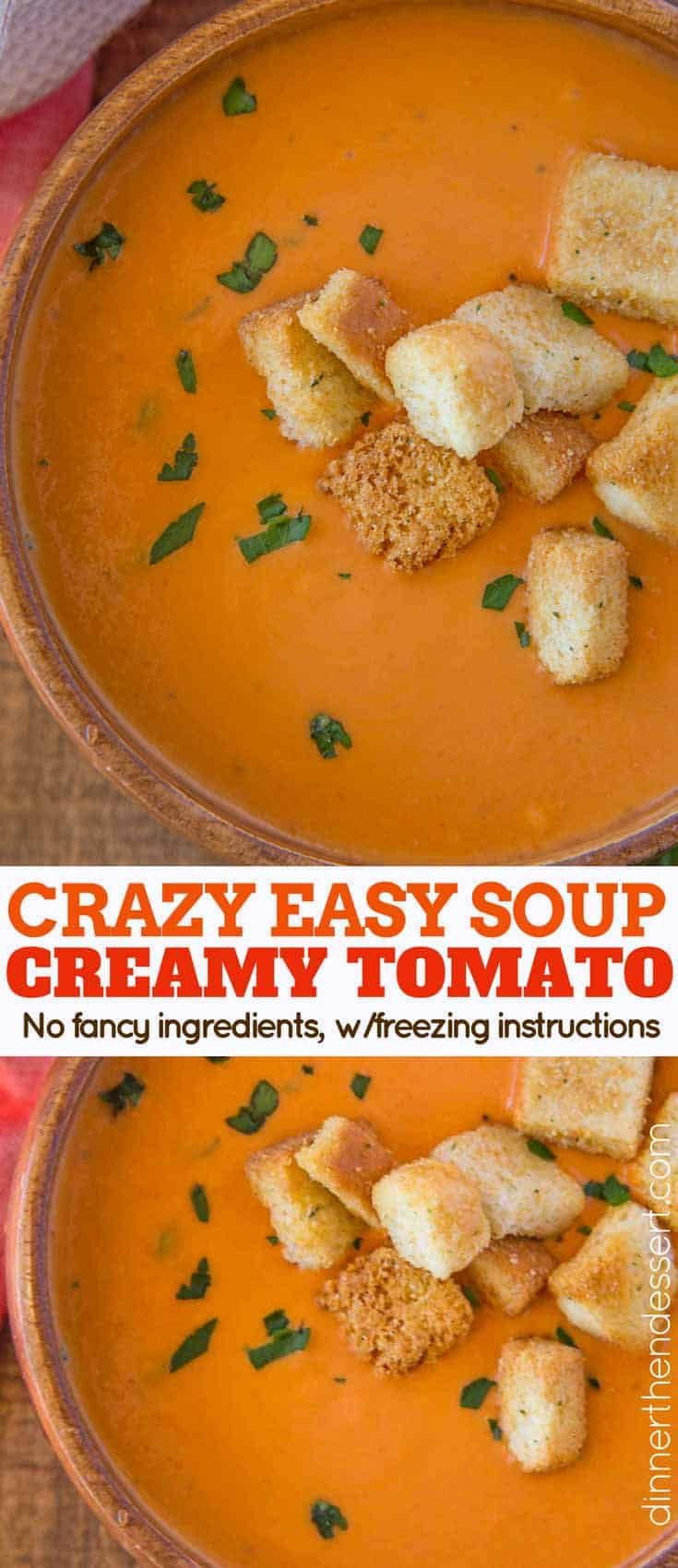 tomato soup collage with croutons