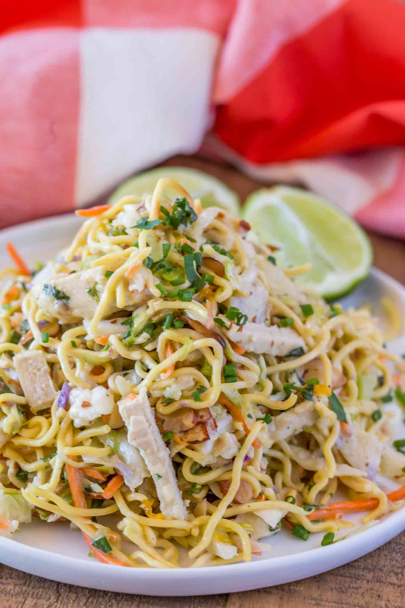 Ramen Salad with Chicken and almonds on plate
