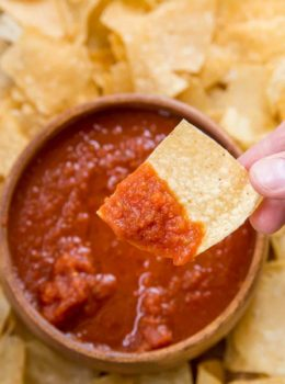 chips and salsa in wooden bowl
