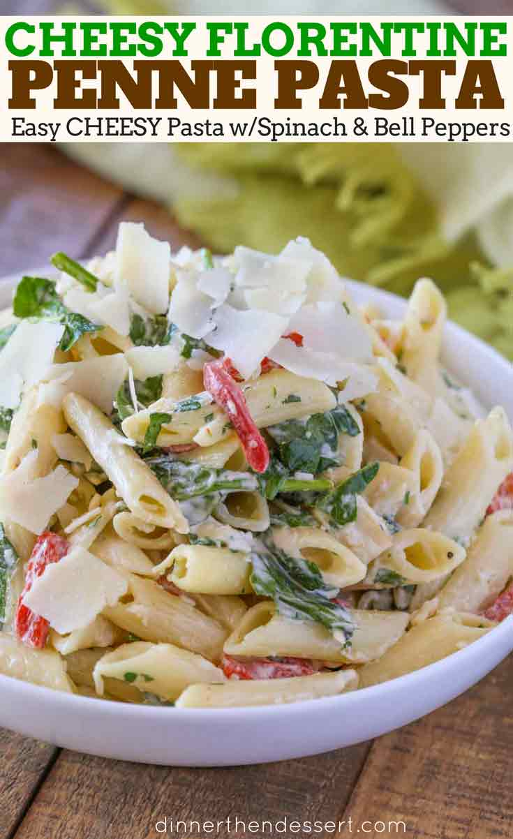 Florentine Pasta with spinach and bell peppers