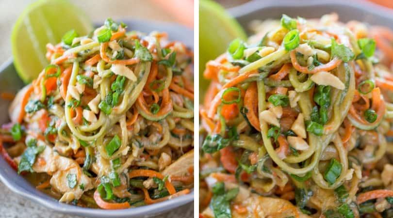 Healthy Thai Peanut Chicken Zucchini Noodles - Dinner, then