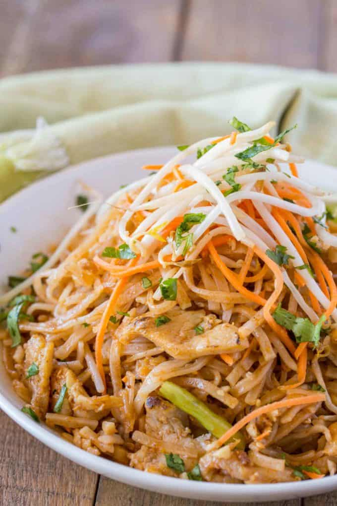 Chicken Pad Thai in Bowl with Limes