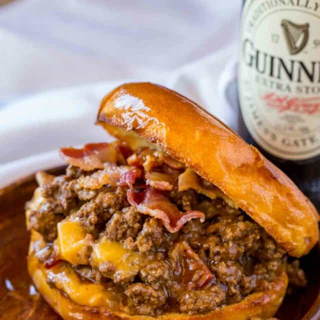 Sloppy Joes with bacon, beer and cheese