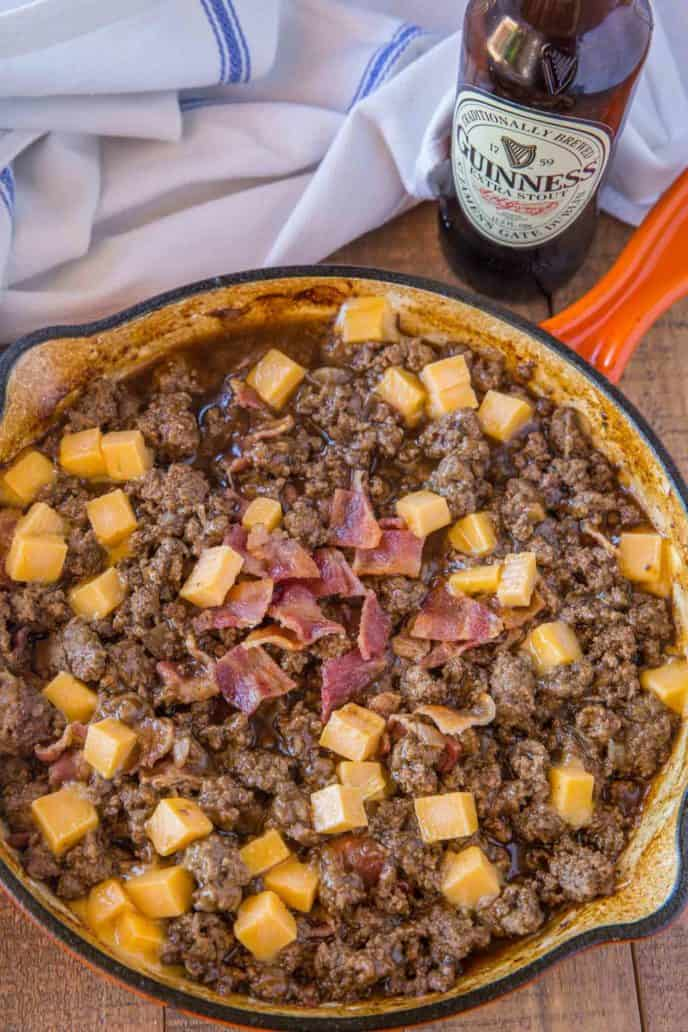 Bacon Beer and Cheese Sloppy Joe Skillet