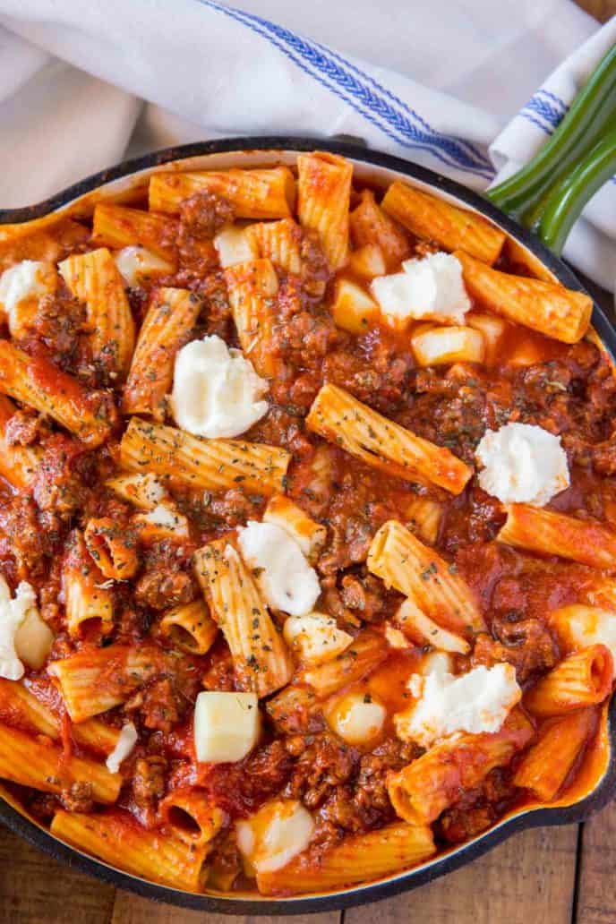 Baked Ziti in a skillet