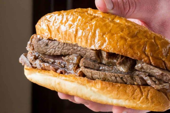 Slow Cooker Beer Braised Beef Dip Sandwiches