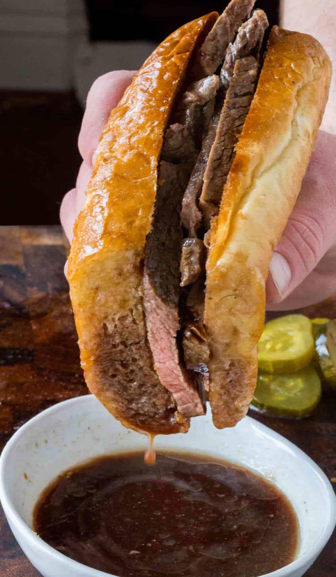 Slow Cooker Beer Braised Beef Dip Sandwiches Dinner