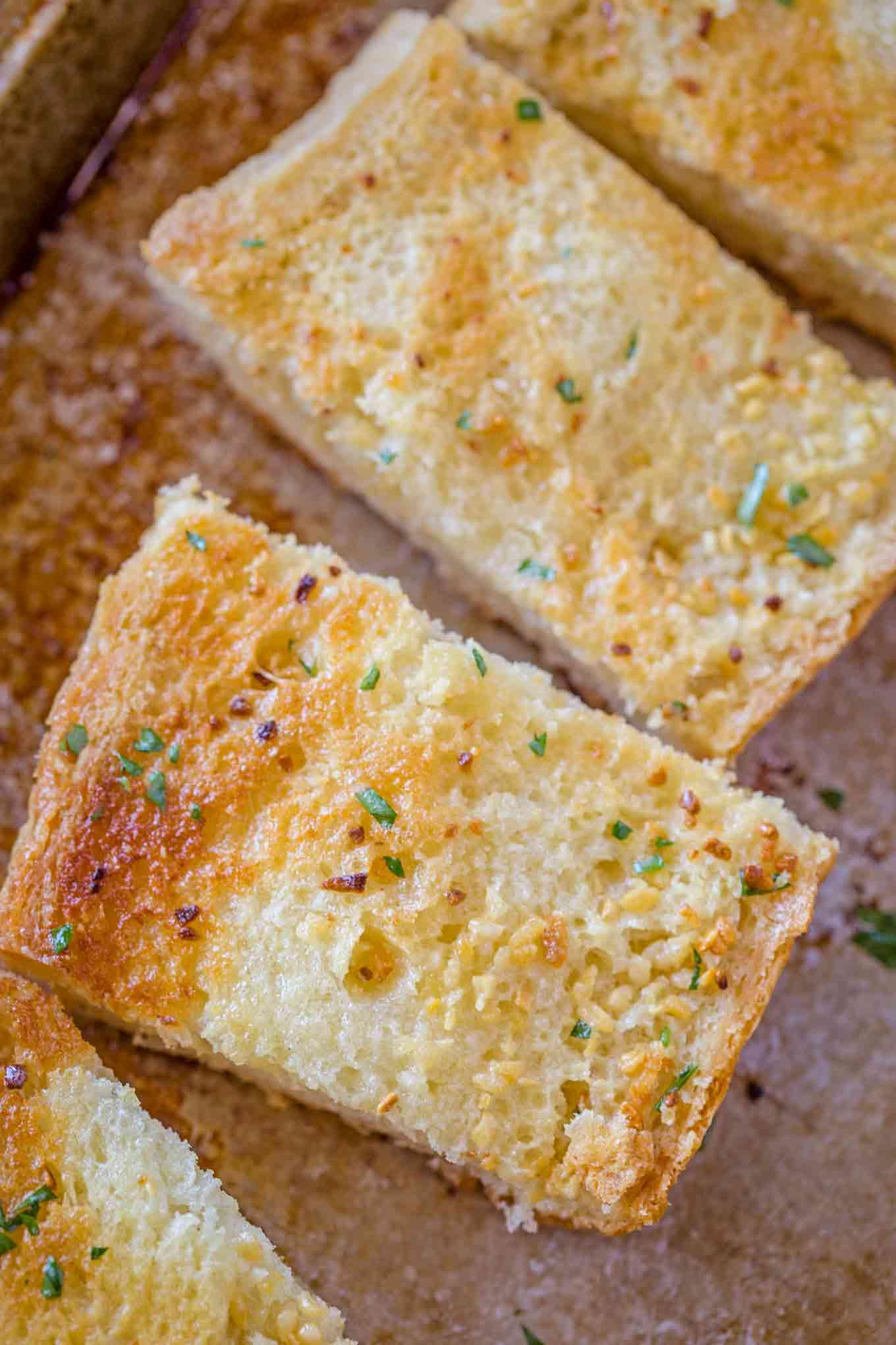 garlic bread dinner then dessert