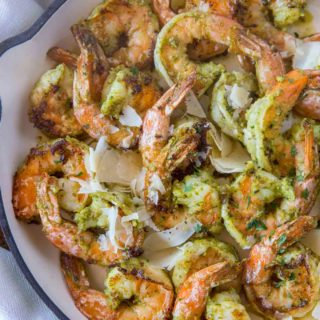 Pesto Shrimp in Pan