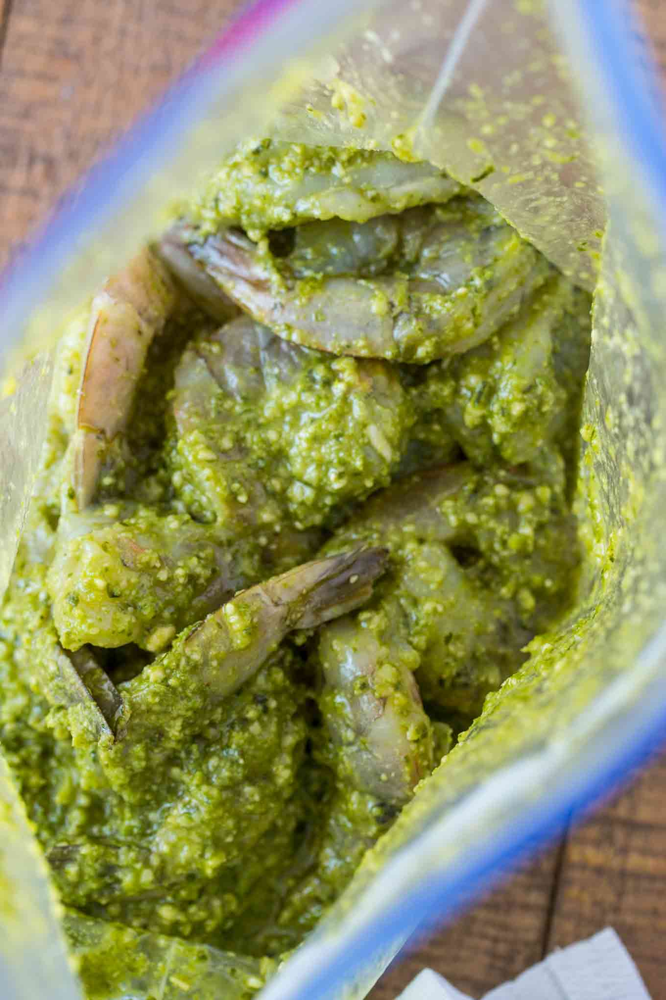 Pesto Marinade over Shrimp