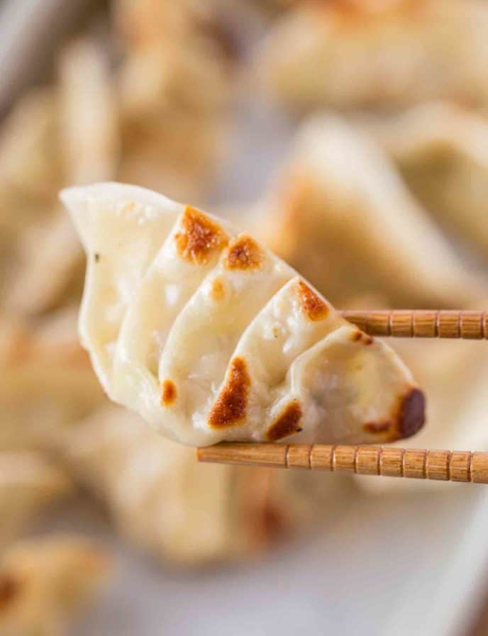 Chicken Potstickers with chopsticks