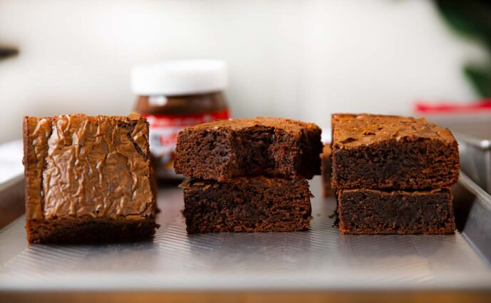 Nutella Brownies in a row on baking sheet