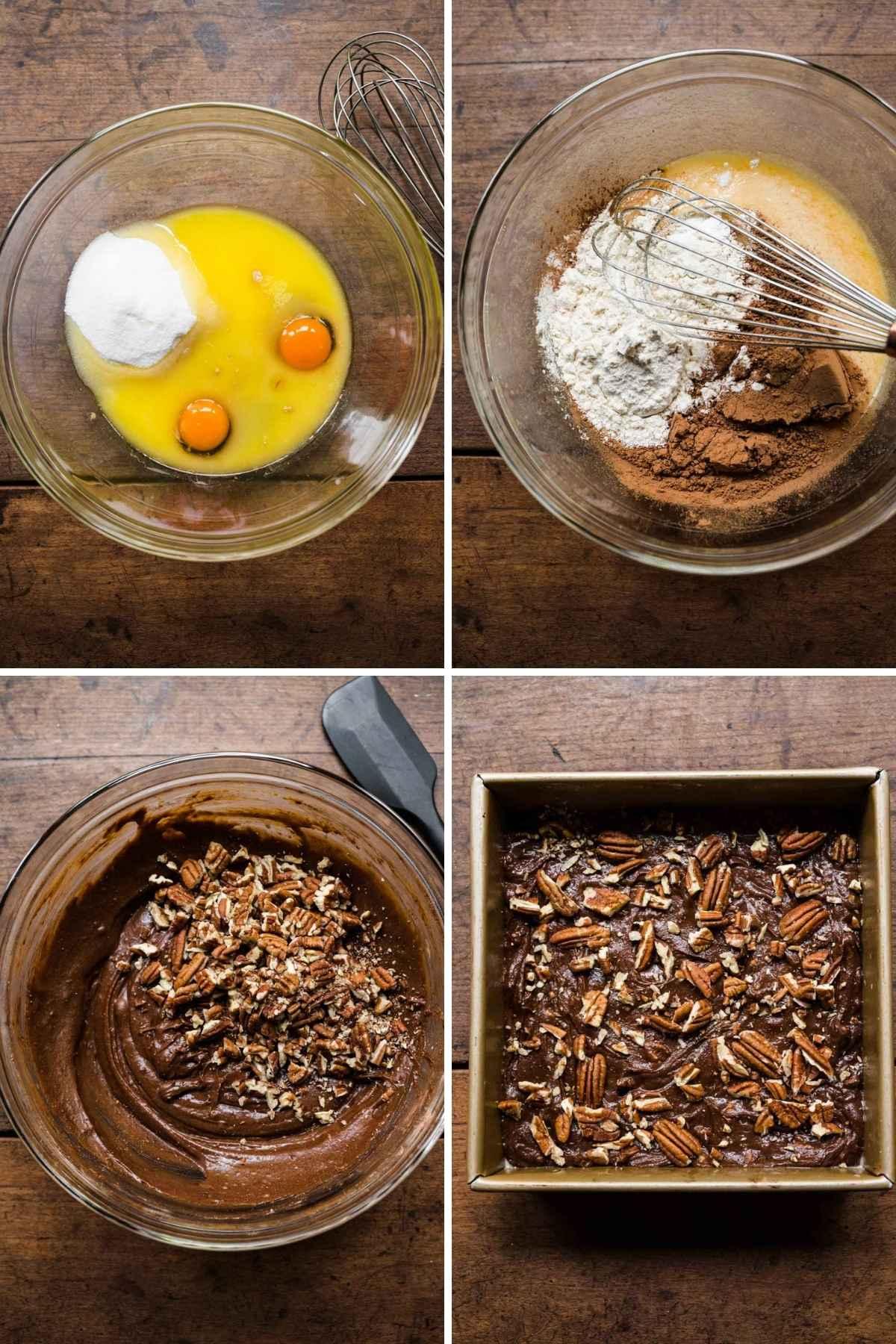 Pecan Brownies collage of prep steps